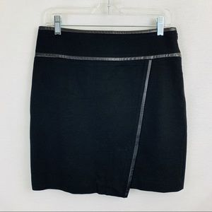 WHBM black a-line skirt with leather trim, size 4